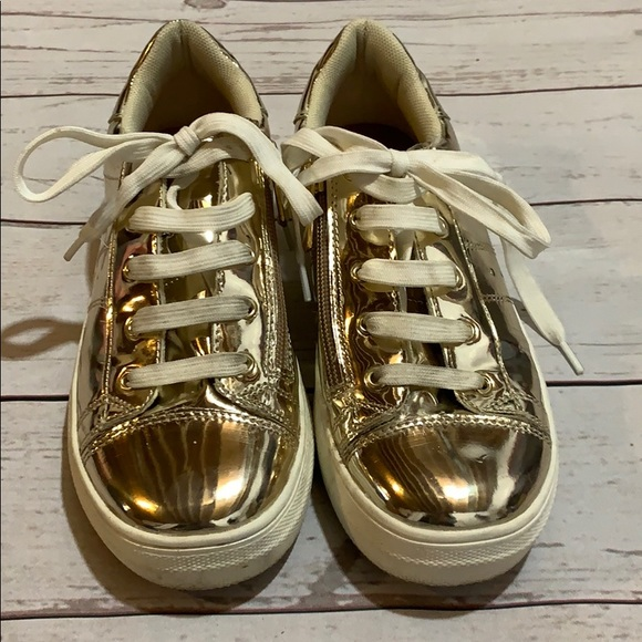 kidpik Shoes   Girls Gold Tennis Shoes